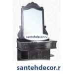Мебель для ванной комнаты Bellezza Аврора-120 из массива дуба черный + раковина + мраморная столешница