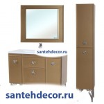 Мебель для ванной комнаты Bellezza LUSSO-100 тумба с 2 ящ. белая,золото, красная, черная (стекло) + раковина